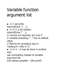 Variable function argument list